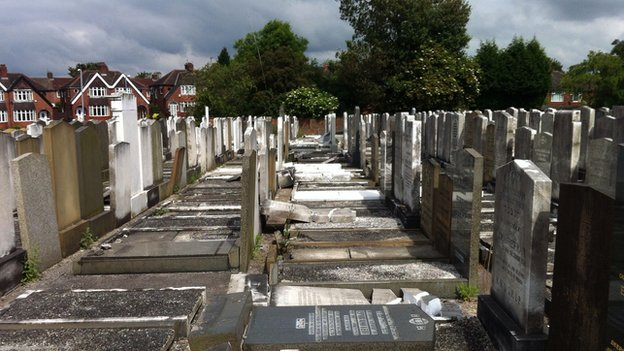Vandalised Jewish graves in Manchester